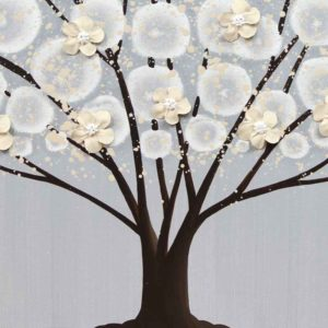 Neutral Painting of Flowering Tree in Gray and Brown | Large – Extra Large