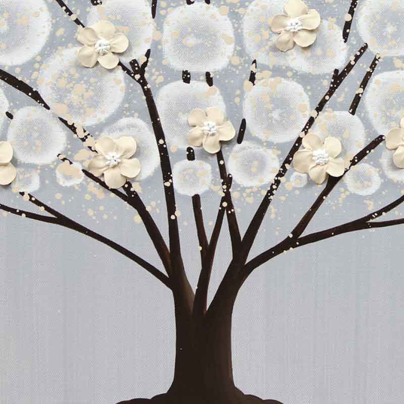 Center view of wall art gray and brown apple tree