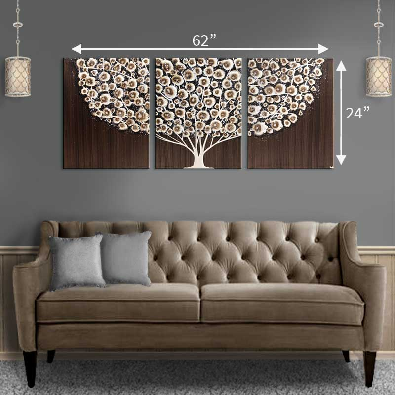 Wall Art Tree Painting On Canvas In Brown And Gray Large Extra