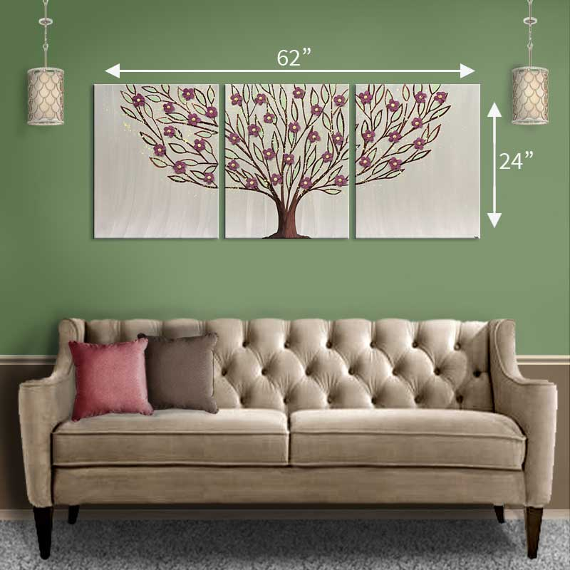 Extra large size guide for warm gray tree painting