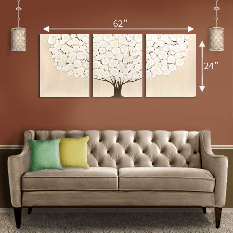 Extra large size guide for khaki tree wall art