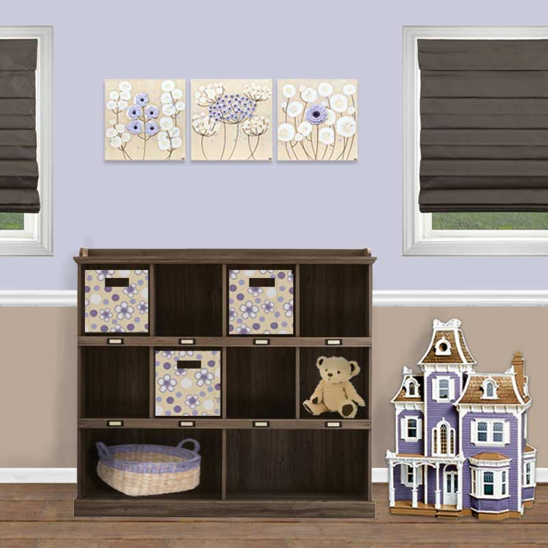 Setting view of nursery art khaki and lavender flowers