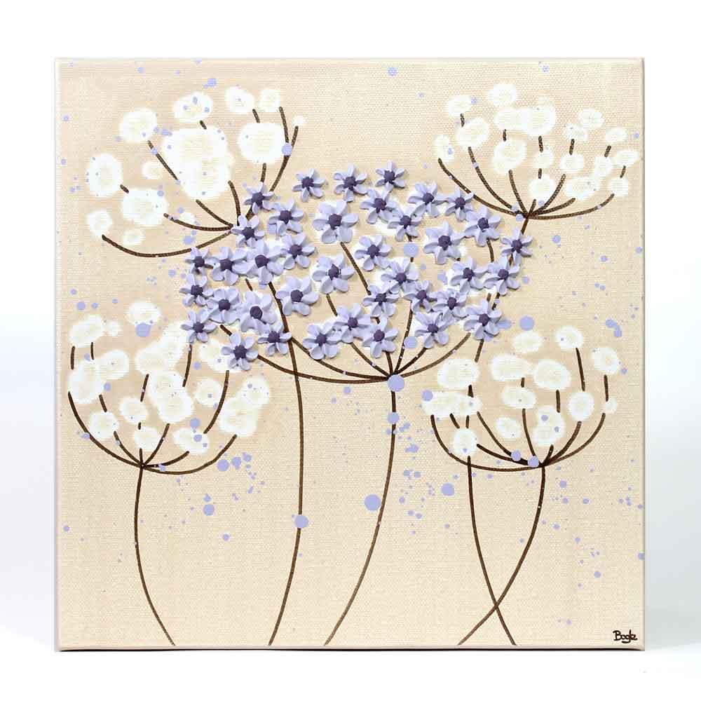 Close up of nursery art khaki and lavender flowers