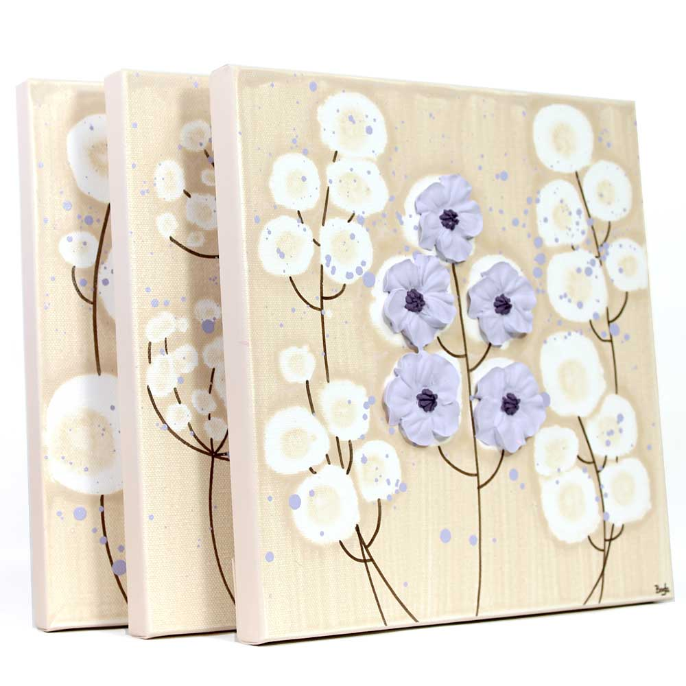 Side view of nursery art khaki and lavender flowers