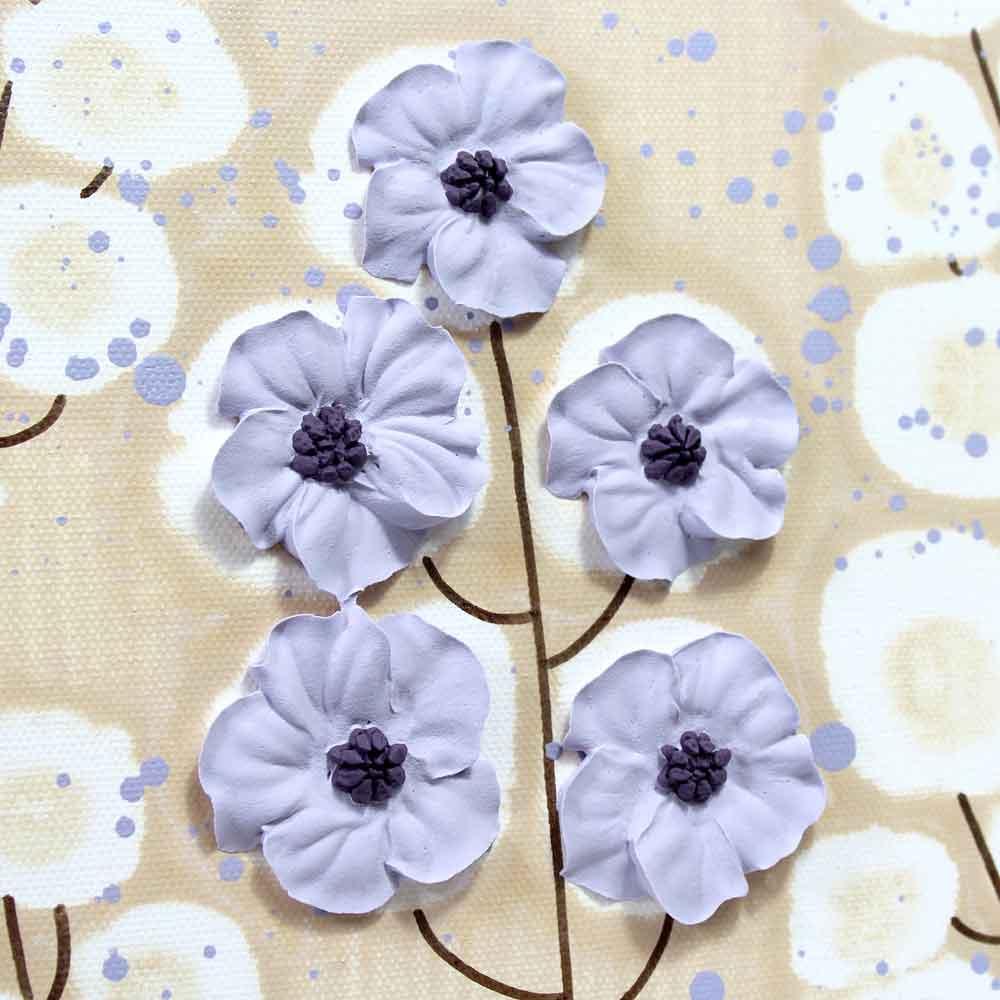 Close up of wildflowers on nursery art khaki and lavender flowers