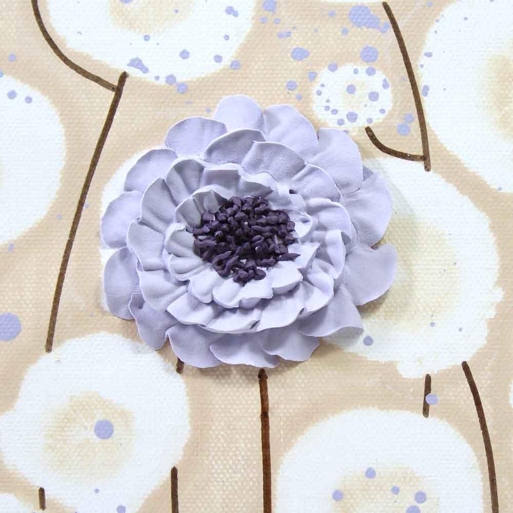 Close up of zinnia on nursery art khaki and lavender flowers
