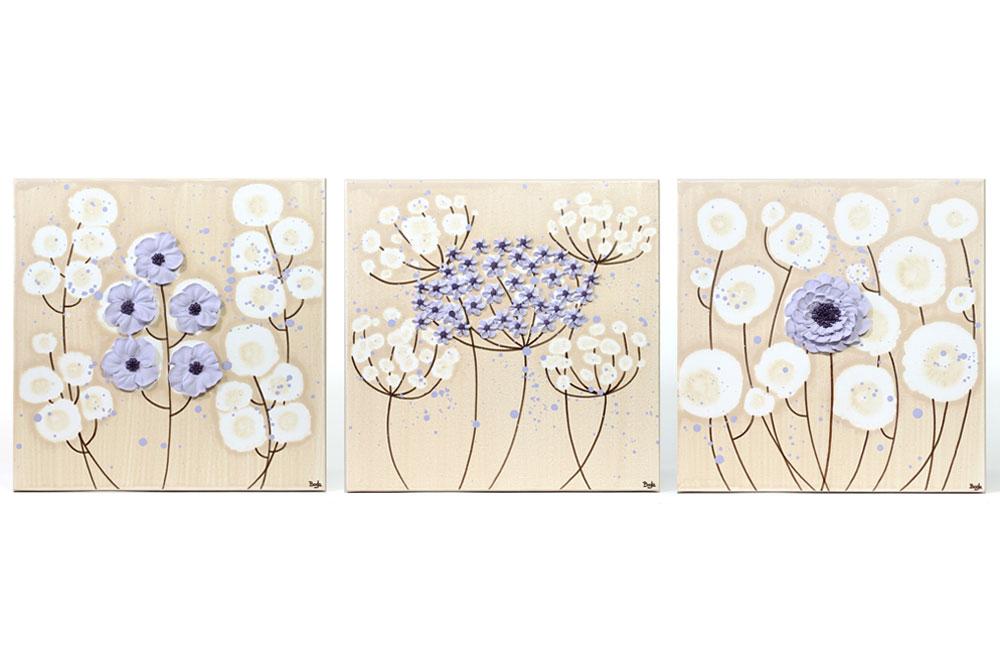 Nursery art khaki and lavender flowers