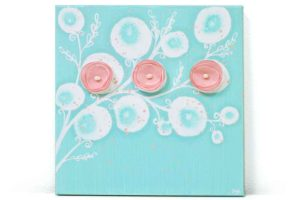 Nursery art aqua pink poppies