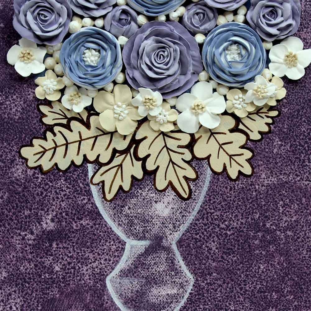 Center view of peony nursery art grape and lavender rose bouquet