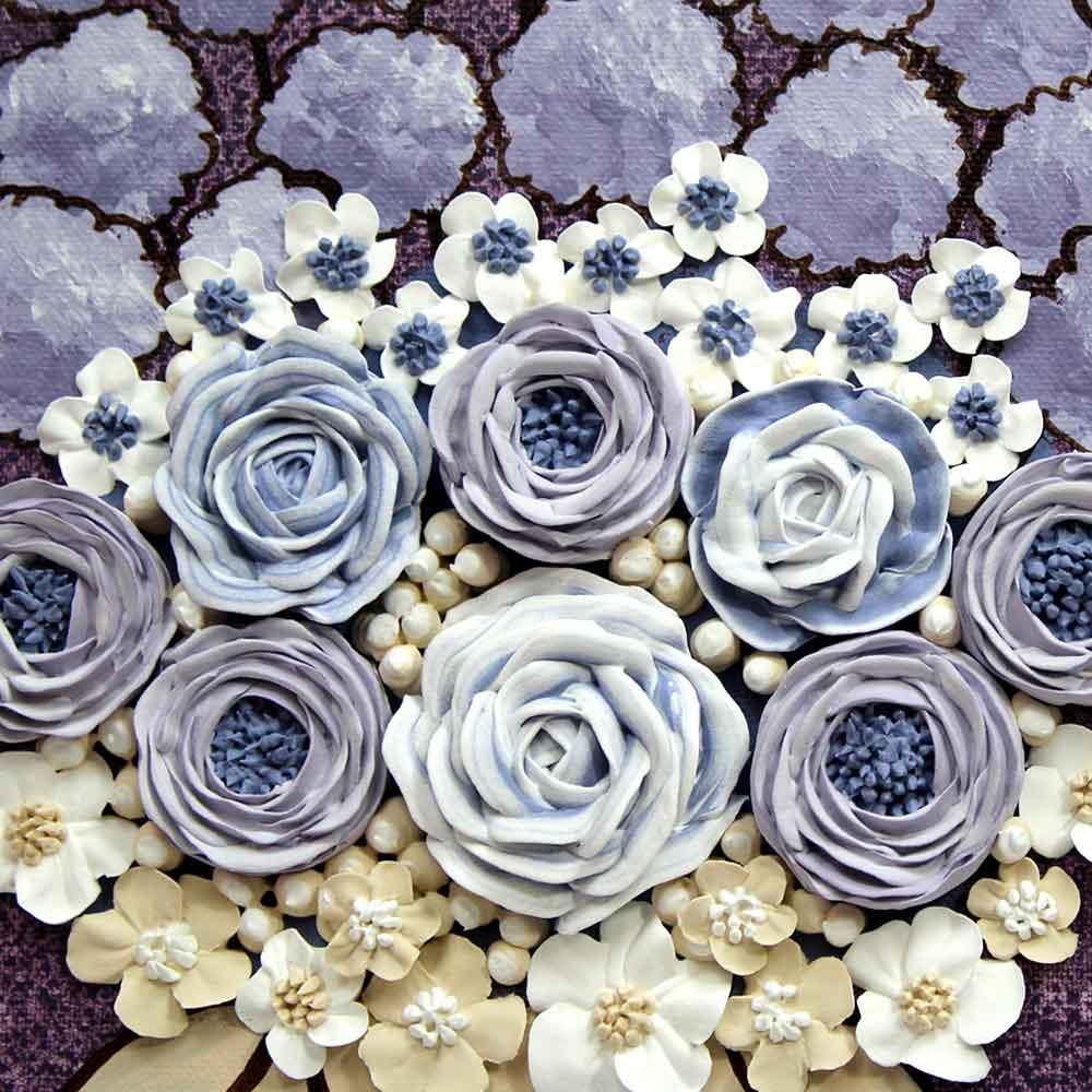 Close up of peony nursery art grape and lavender rose bouquet