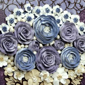 Floral Wall Art Paintings on 3 Canvases in Dark Purple