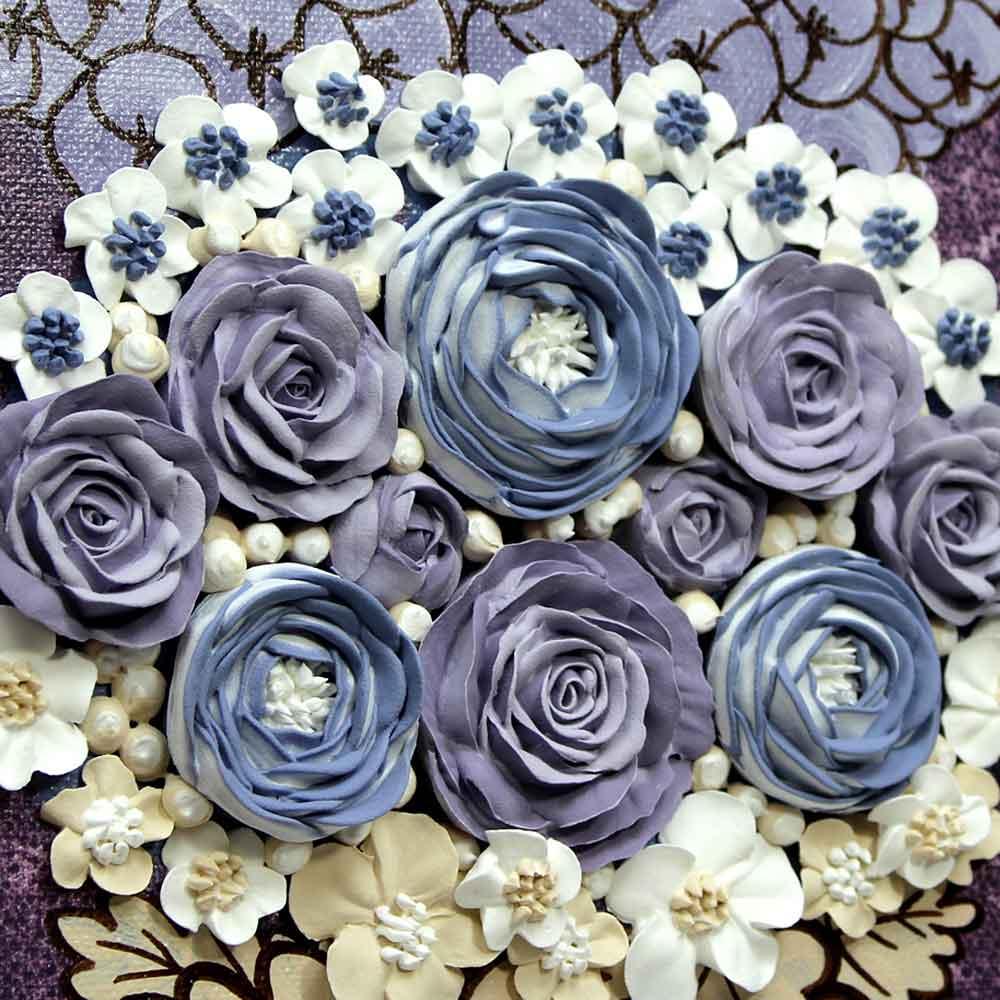 Close up of rose nursery art grape and lavender rose bouquet