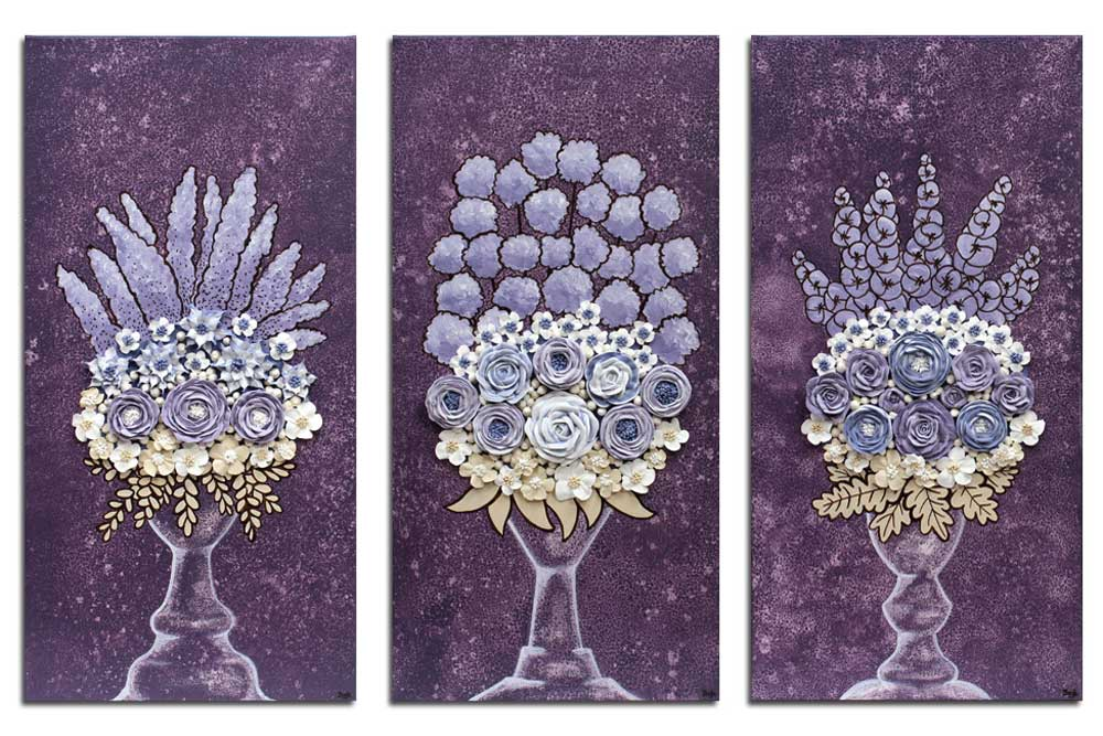 Nursery art grape and lavender rose bouquet