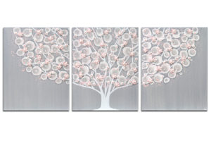 Nursery art of flowering tree in gray and pink