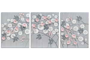 Girl Nursery Art Triptych Flower Painting Gray and Pink – Large