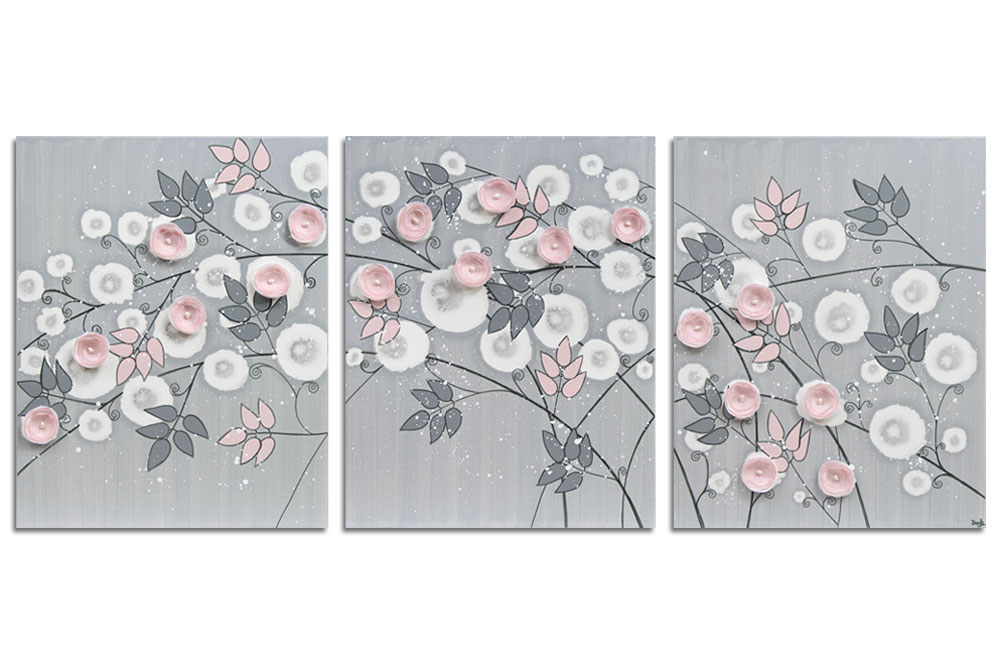 Nursery art gray and pink climbing flowers