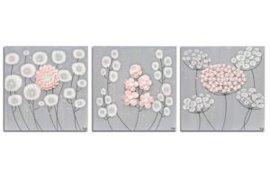 Flower Wall Art on 3 Canvases for Gray and Pink Girl Nursery