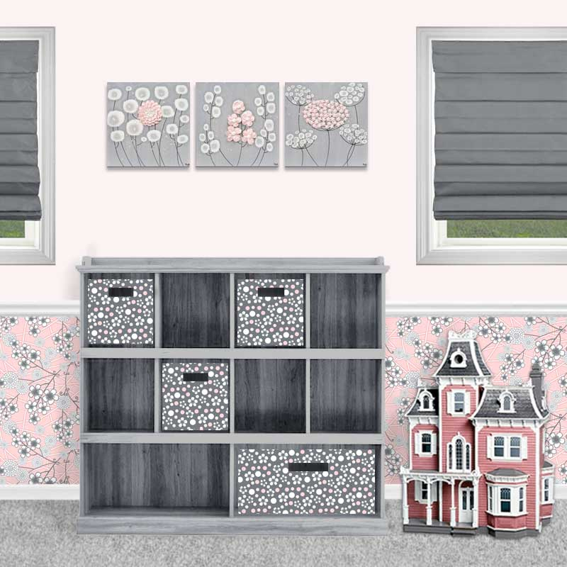 Setting view of nursery art gray and pink flowers three