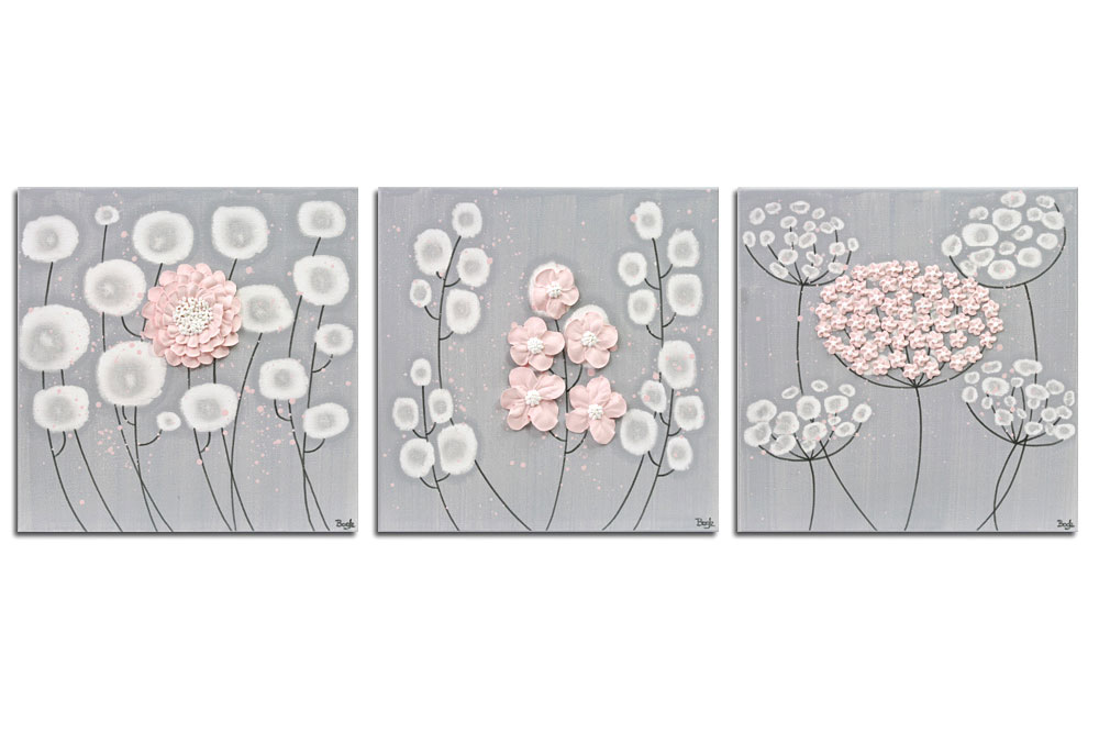Nursery art gray and pink flowers set of three