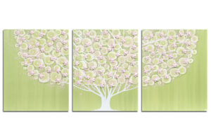 Nursery art green and pink flowering tree
