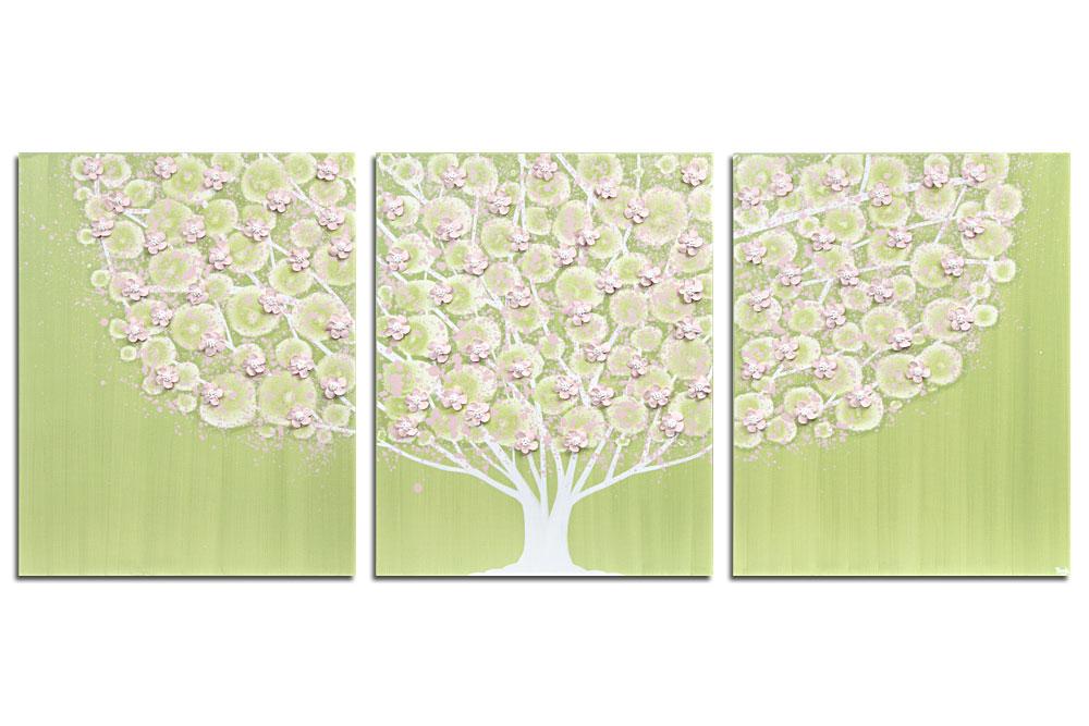 Nursery art green and pink flowering tree