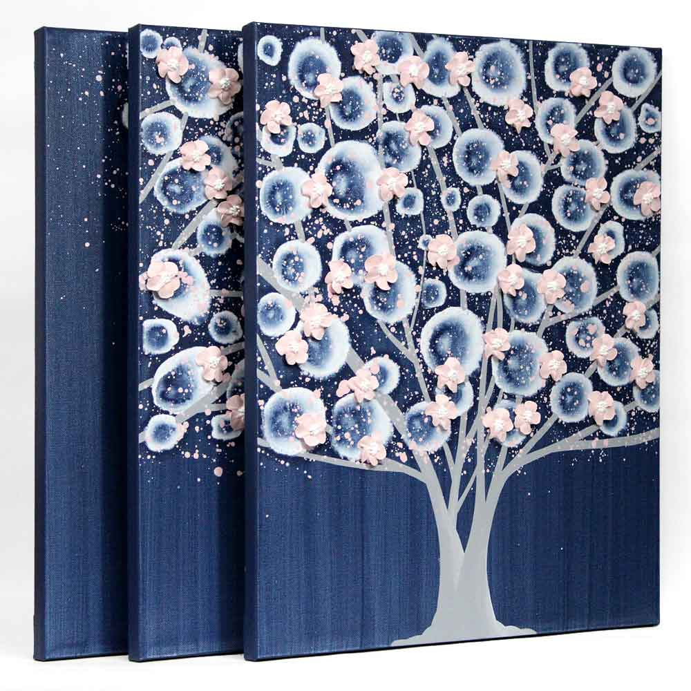 Side view of nursery art indigo and pink apple blossom tree