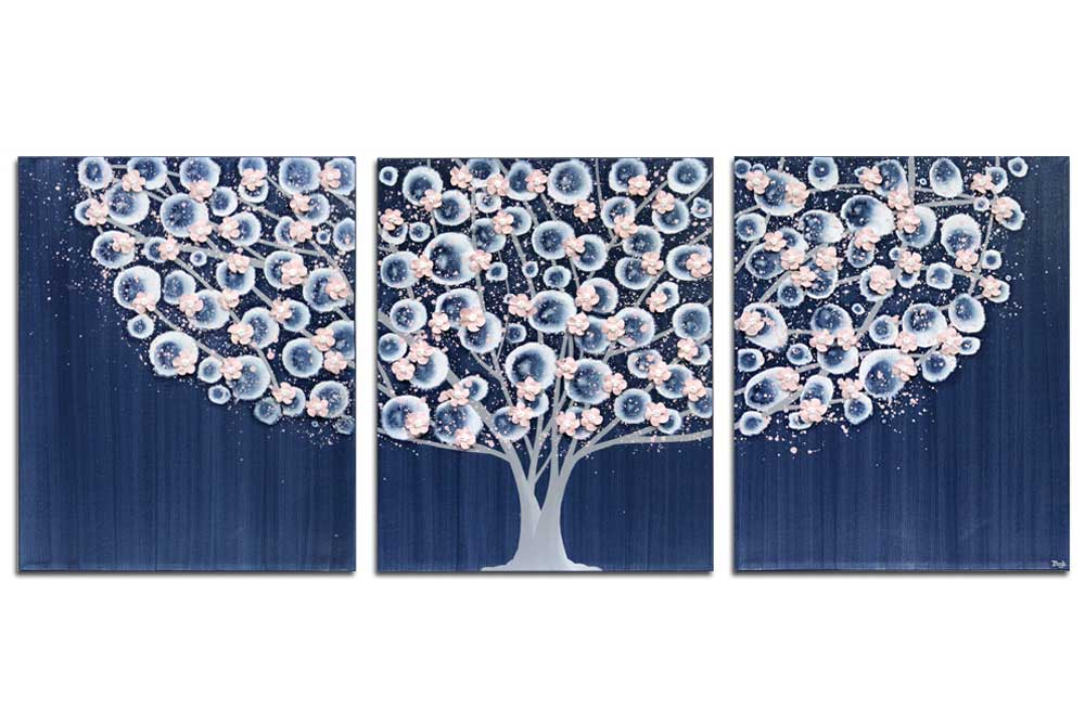 Nursery art indigo and pink apple blossom tree