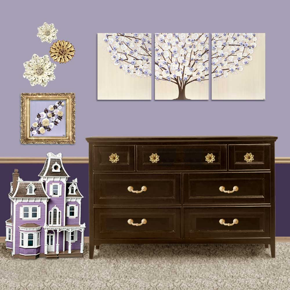 Setting view of nursery art khaki and lavender tree