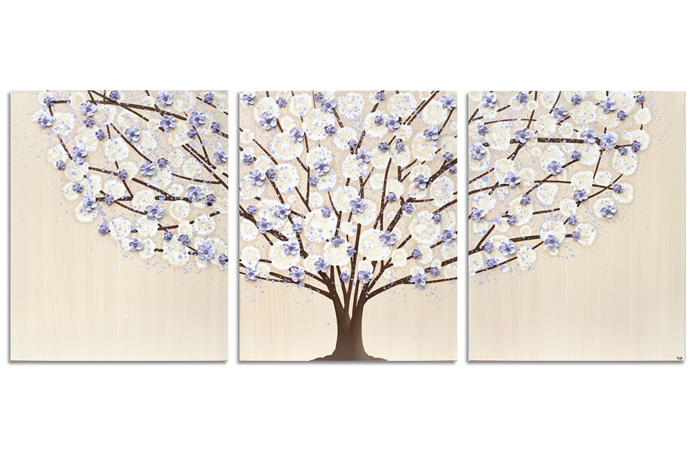 Nursery art khaki and lavender tree