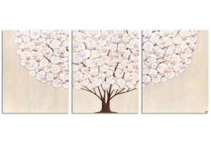Nursery Tree Painting on Canvas in Khaki and Pink – Large