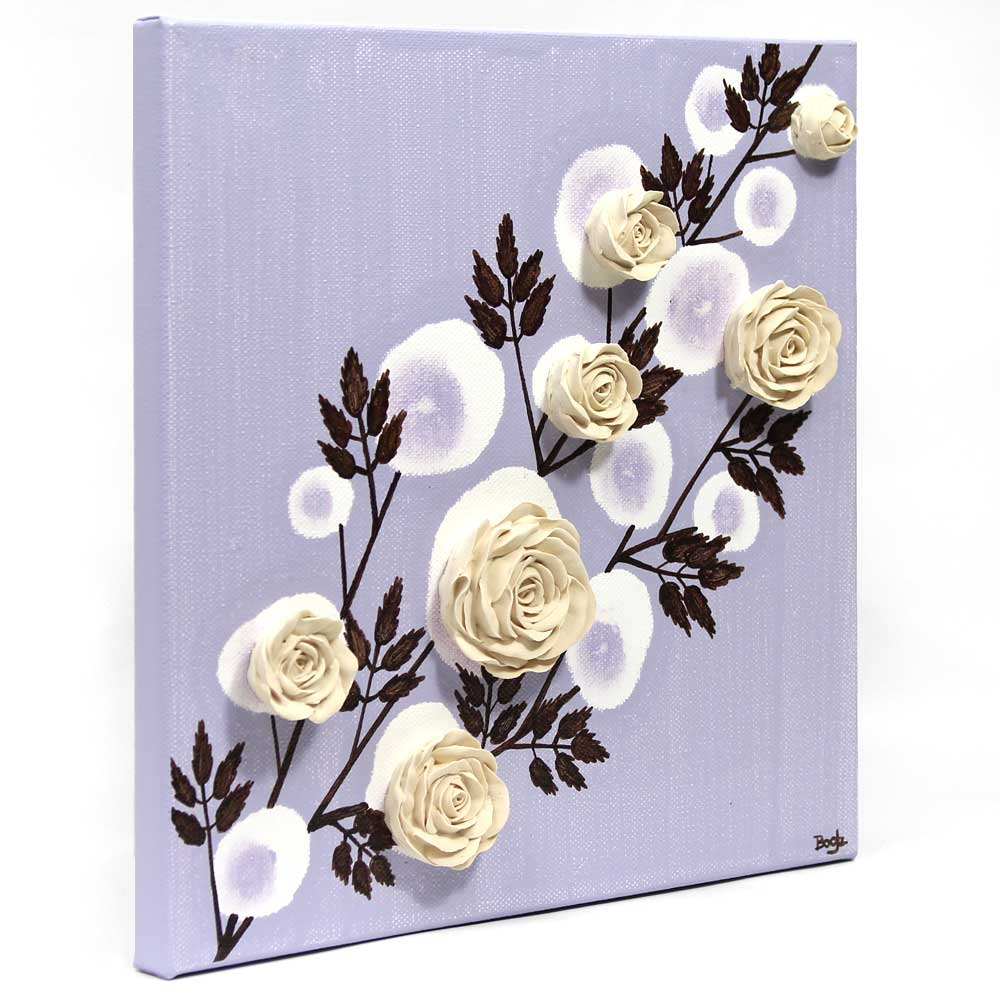 Side view of nursery art lavender rose branch