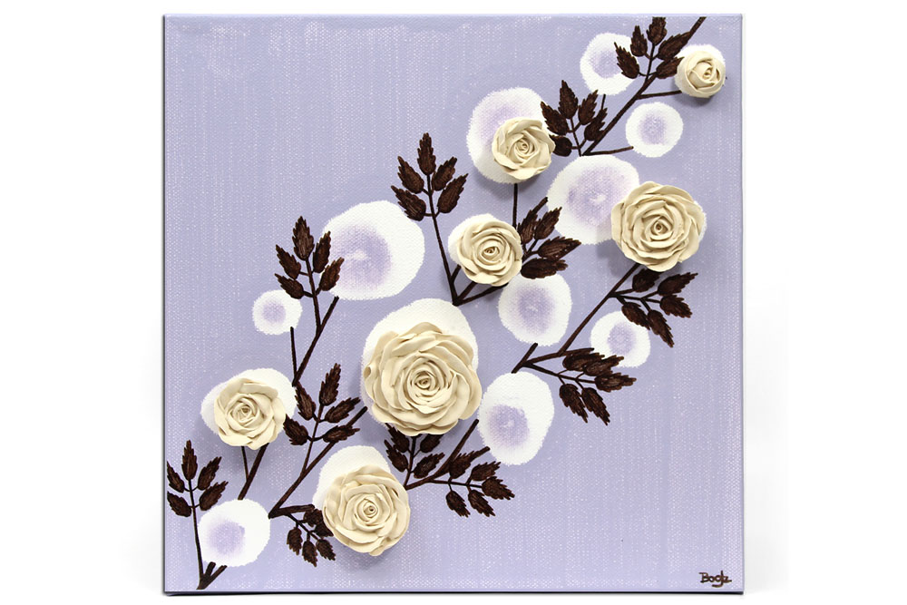 Nursery art lavender rose branch