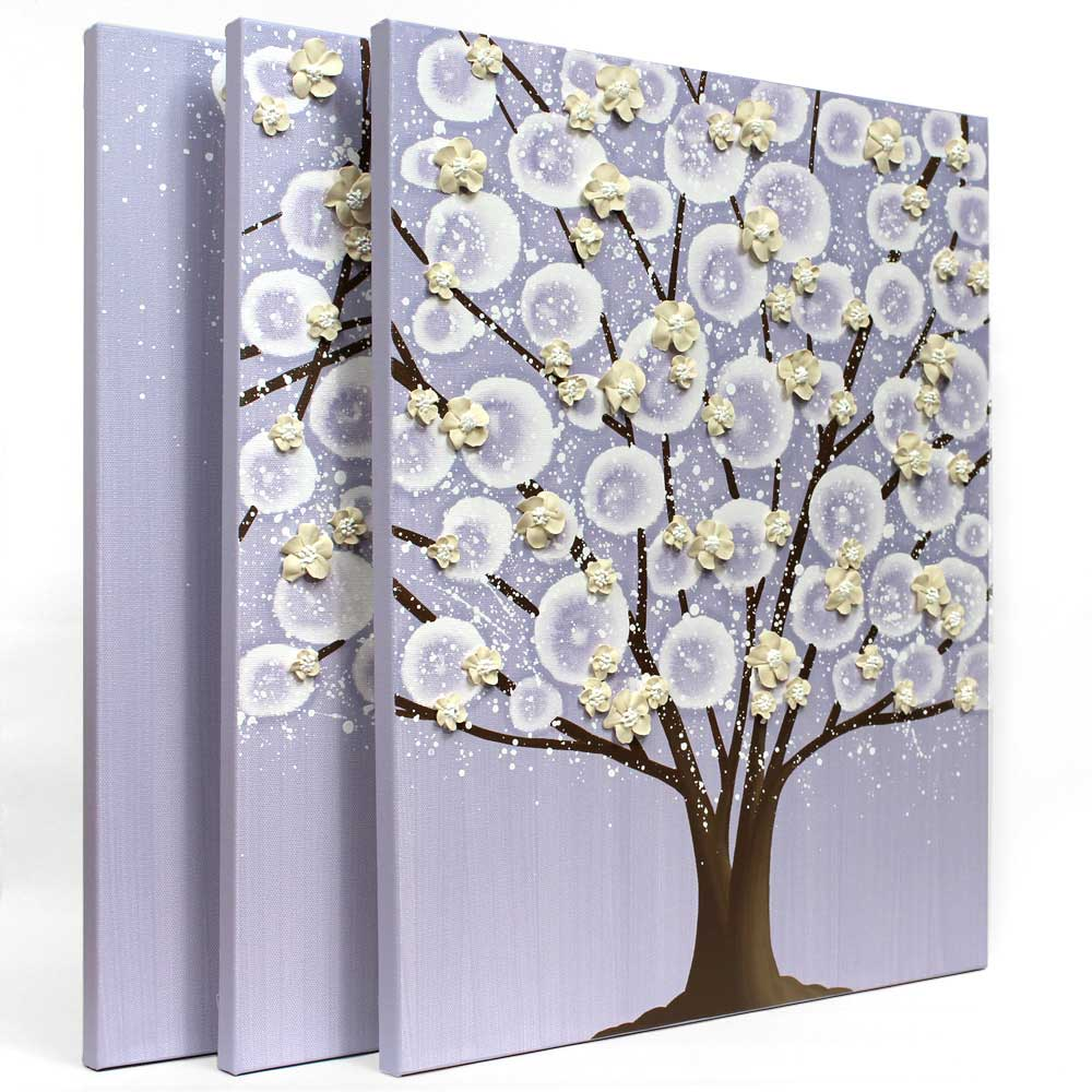 Side view of nursery art lavender and khaki flowering tree