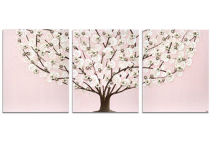 Nursery art pink apple blossom tree