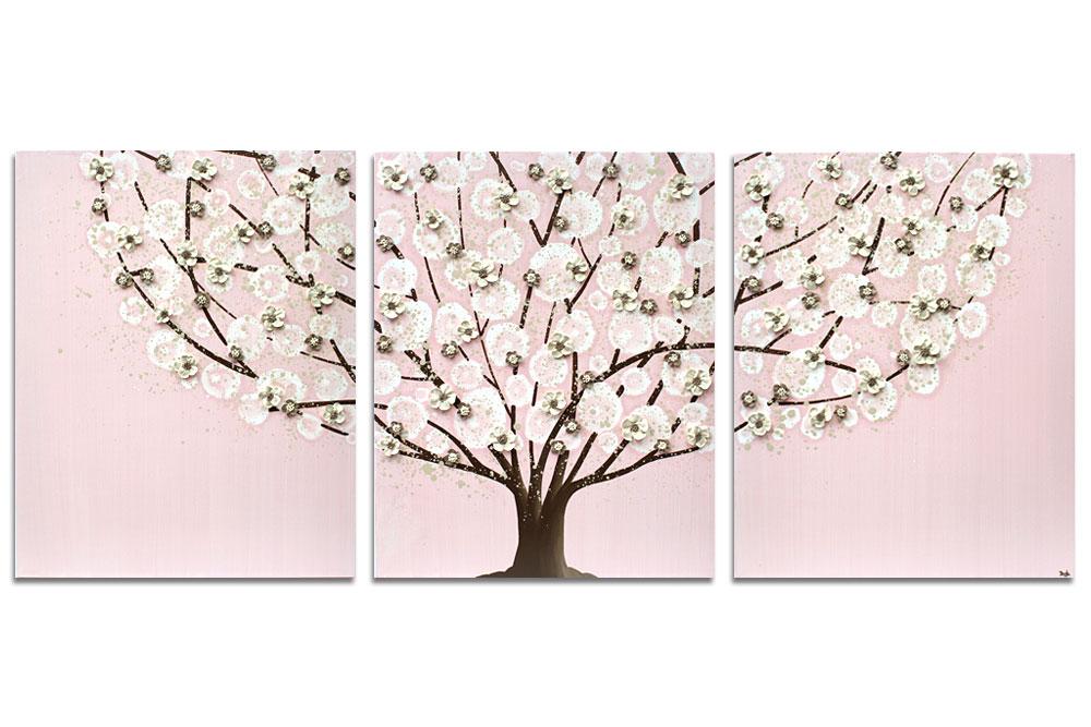 Nursery art pink apple blossom tree