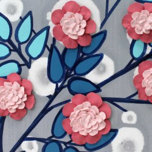 Canvas Wall Art Flower Painting in Gray Blue Pink – Small