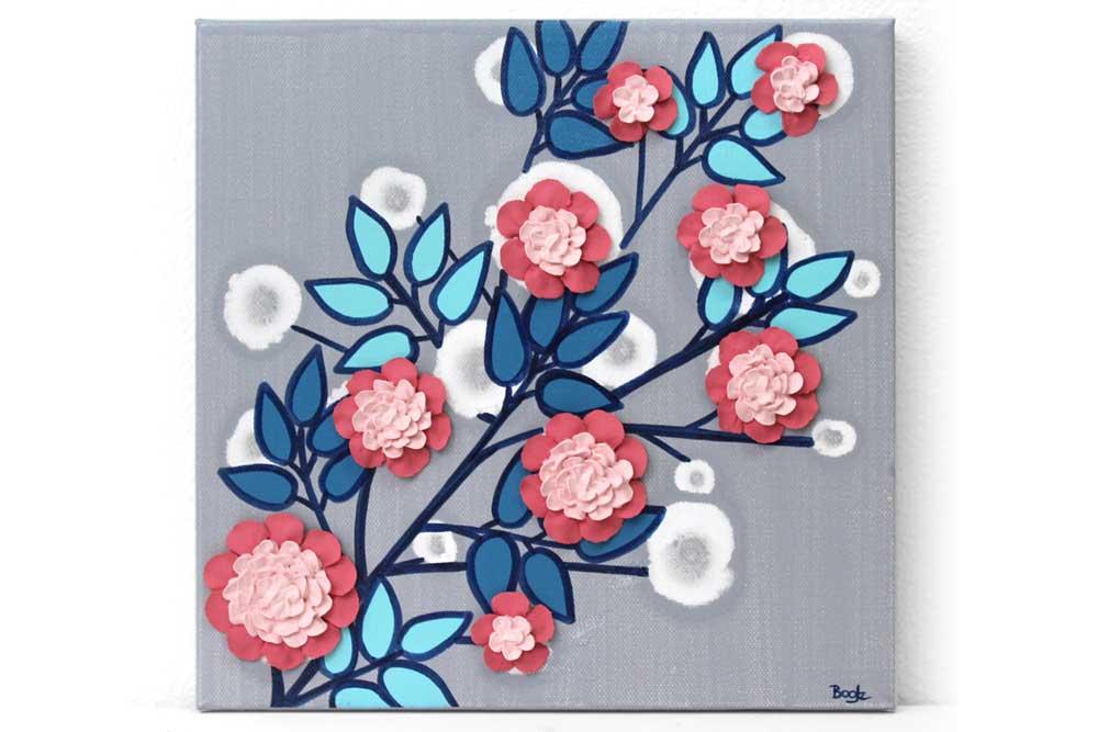 Nursery art flower branch in pink, aqua, and indigo