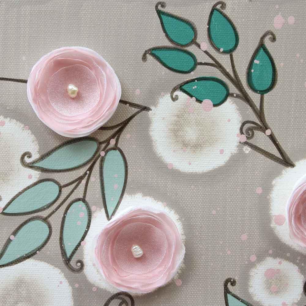 Close up of flower on nursery art pink climbing rose