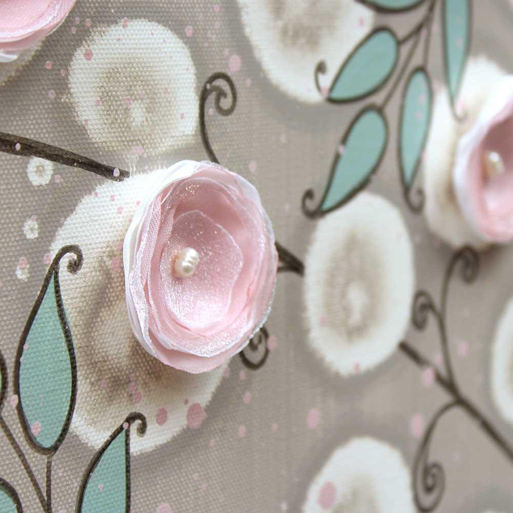 Close up of nursery art pink climbing rose