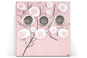Nursery art pink poppy branches