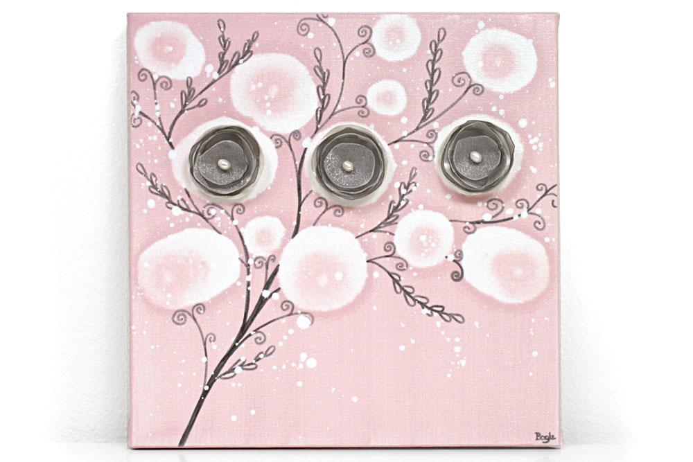 Nursery art pink poppy branches