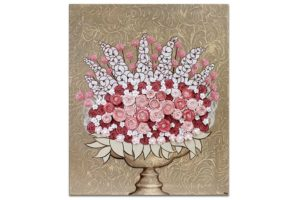Beautiful Nursery Art Sculpted Floral Bouquet in Brown Pink