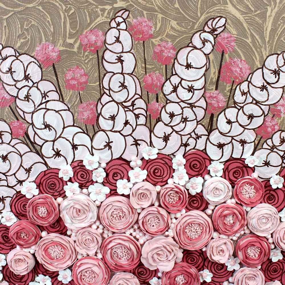 Center view nursery art pink rose bouquet