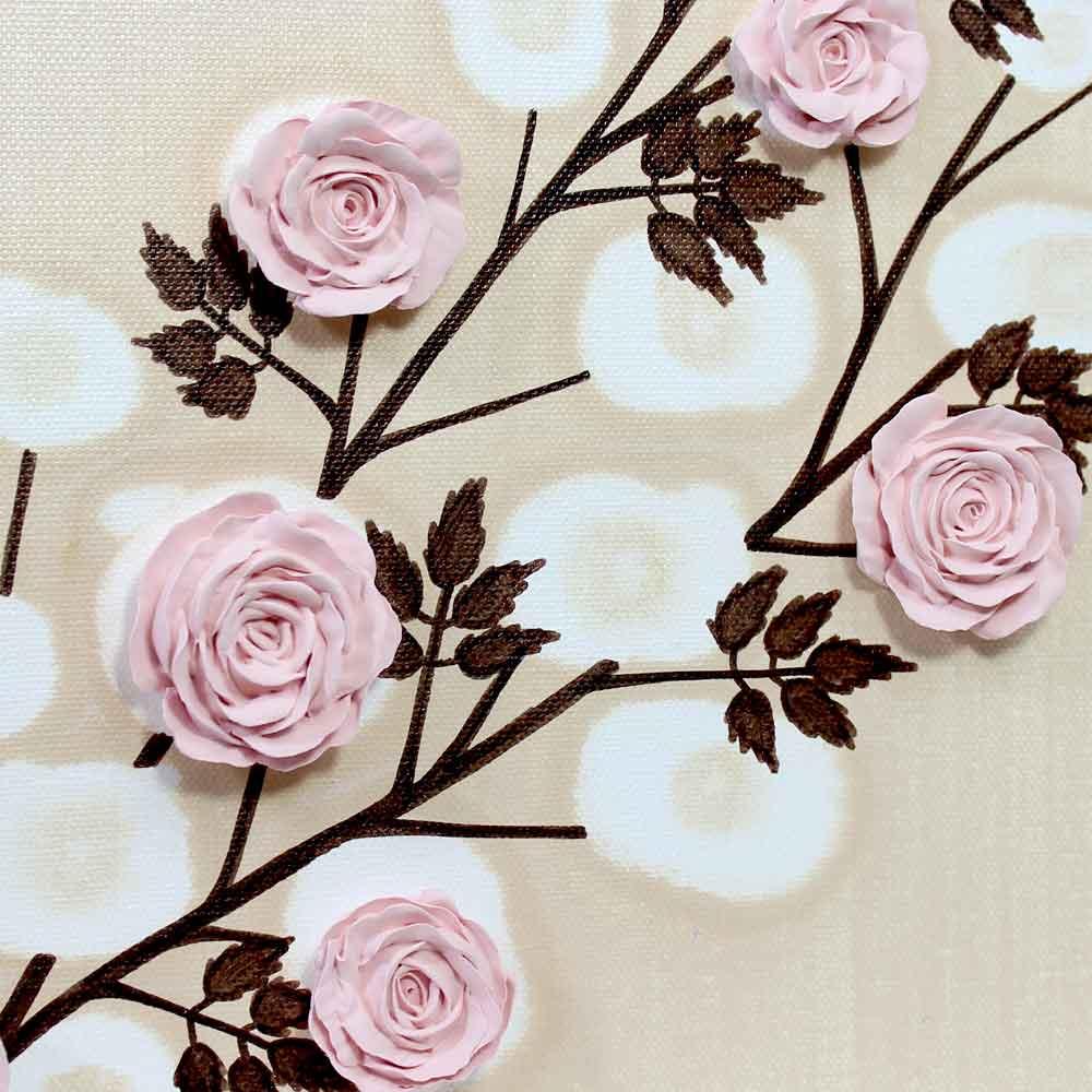 Center view of flower on nursery art pink rose branch