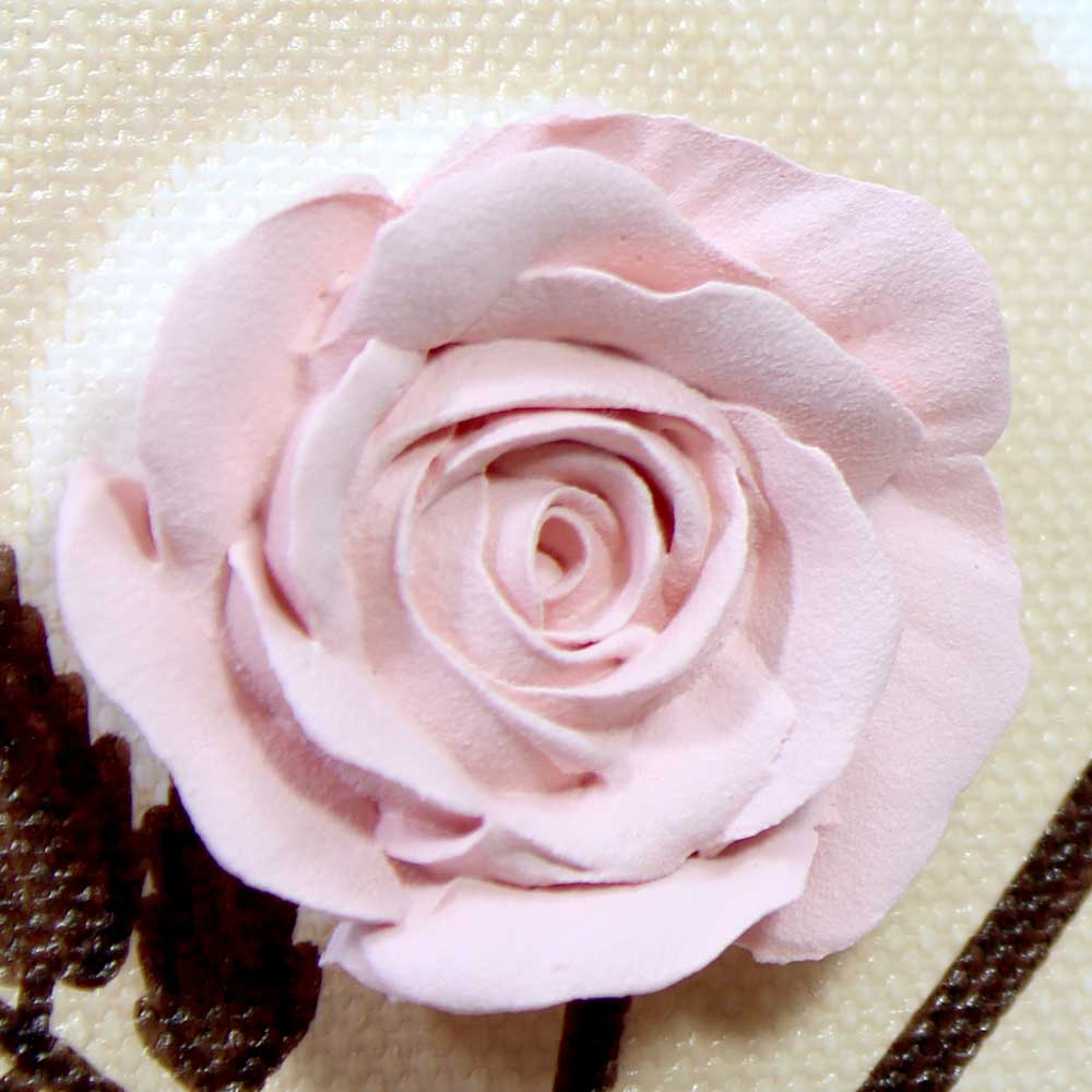 Close up of flower on nursery art pink rose branch