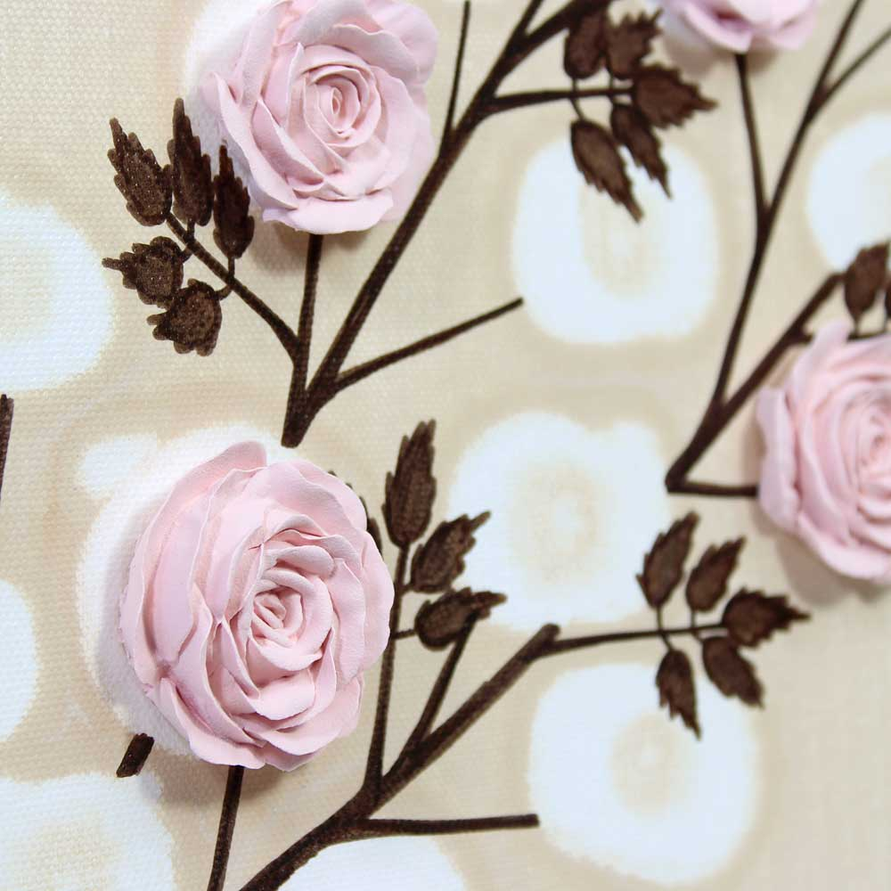 Close up of nursery art pink rose branch