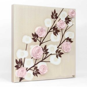 Rose Baby Shower Gift Art in Pink and Brown – Small