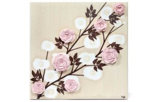 Nursery art pink rose branches
