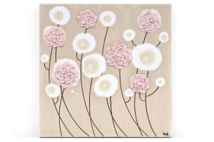Nursery art pink ruffled rose
