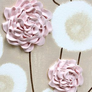 Textured Canvas Art Flowers Pink and Brown Nursery – Small